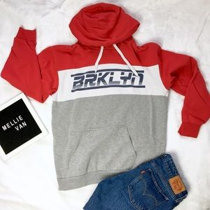 Brooklyn Red White and Gray Hoodie